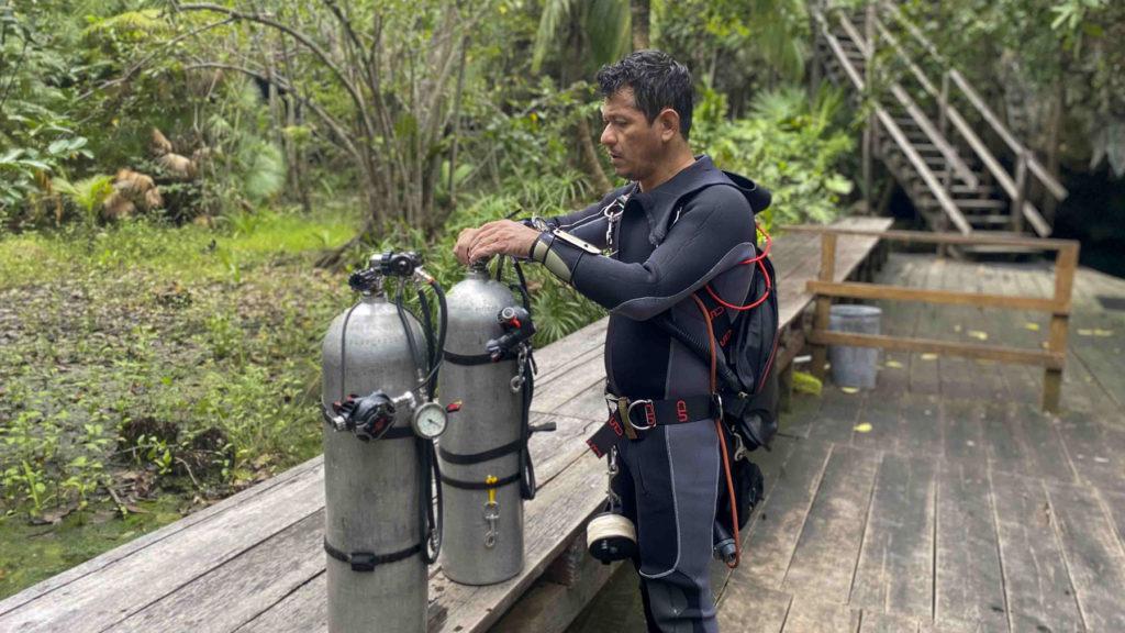 Sidemount diver on cenote Nohoch Nah Chich